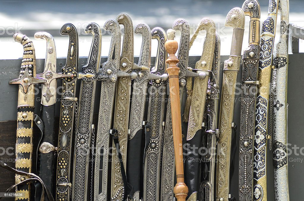 many swords with ornament stock photo