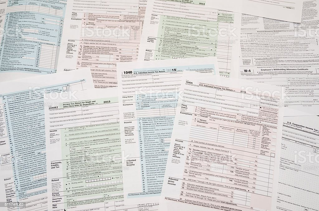 many tax forms stock photo