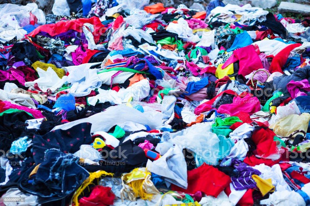 Many textiles stock photo