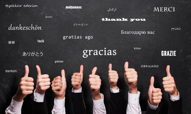 "many thumbs up in front of a blackboard with the word ""thank you"" in many languages - group of people стоковые фото и изображения"
