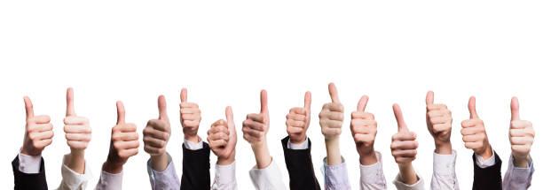 many thumbs up isolated on white - feedback comunicação imagens e fotografias de stock