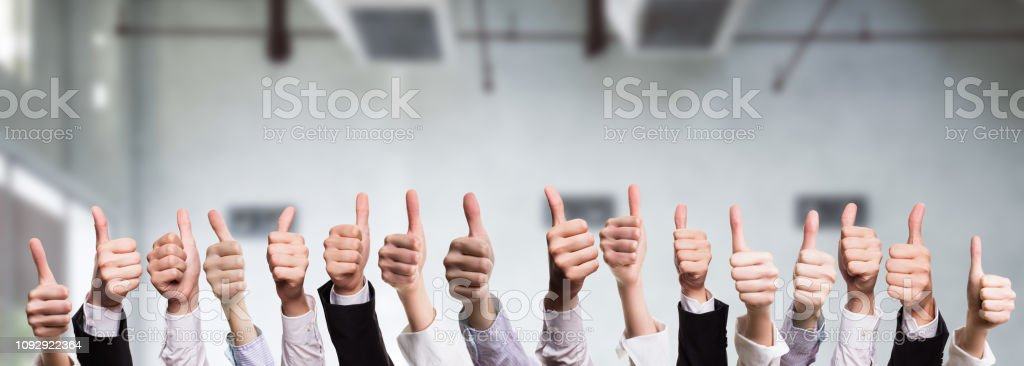 many thumbs up many thumbs up Admiration Stock Photo