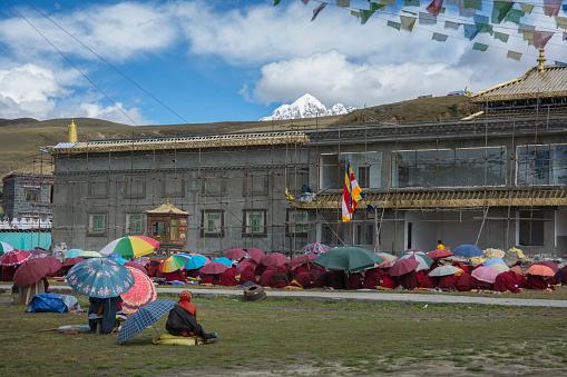 Many Tibetan monks praying outdoors under stretched Tibetan prayer flags.  Tagong, Kangding, Garzê, Tibetan Autonomous Prefecture, Sichuan, China