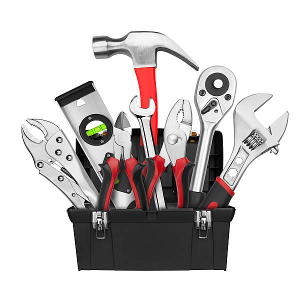 Many Tools in tool box Many Tools in tool box, isolated on white background medium group of objects stock pictures, royalty-free photos & images