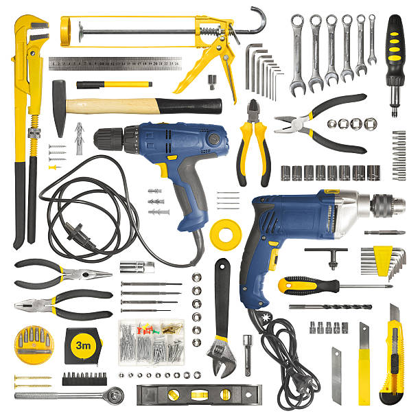 Many tools isolated on white background Many tools isolated on white background socket wrench stock pictures, royalty-free photos & images