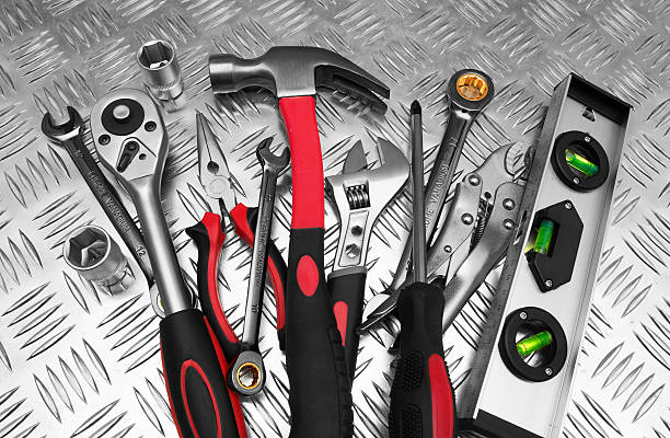 Many Tools Many Tools on metal background socket wrench stock pictures, royalty-free photos & images