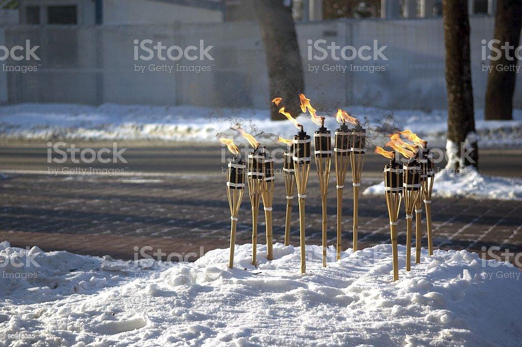 Many torches royalty-free stock photo