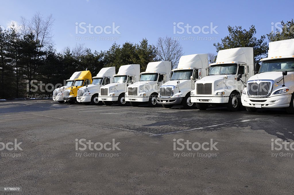 many tractor trailers royalty-free stock photo