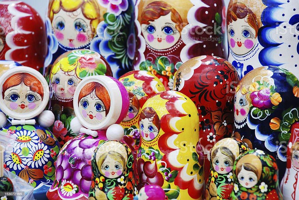 many traditional Russian matryoshka dolls royalty-free stock photo