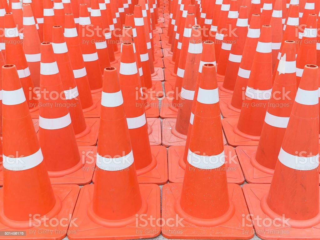 Many traffic cones stock photo