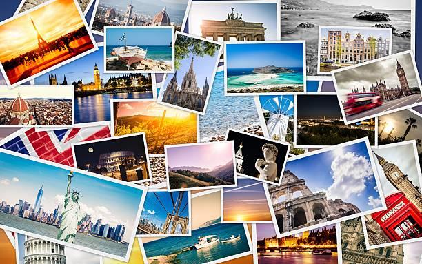 viele reise-bilder collage - deutschland usa stock-fotos und bilder