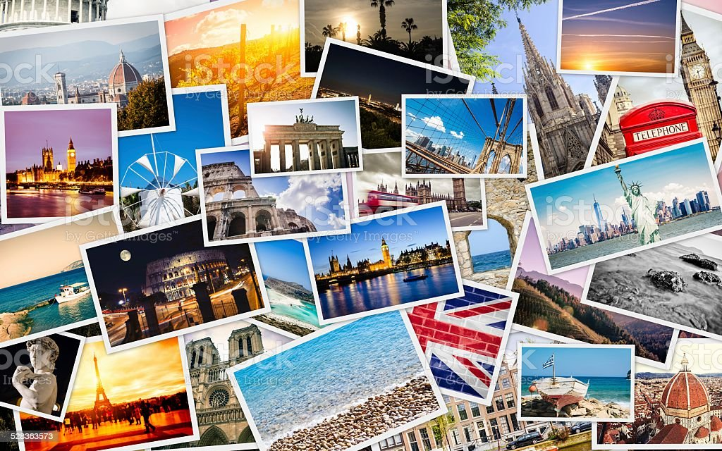 Many Travel Images Collage stock photo