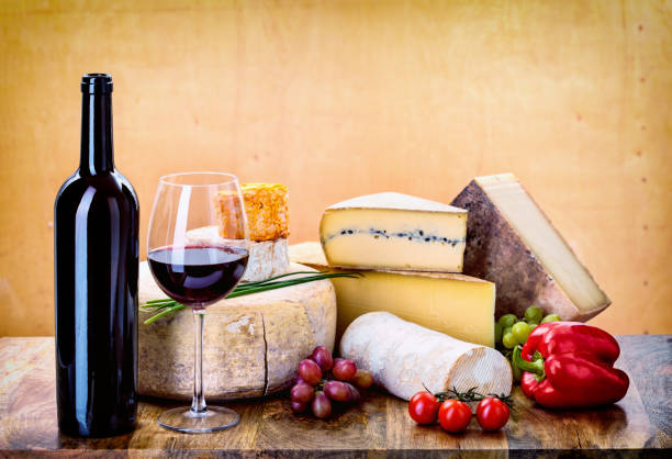 many types of french cheese stock photo