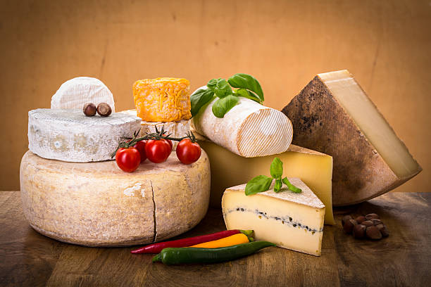 many types of french cheeses stock photo