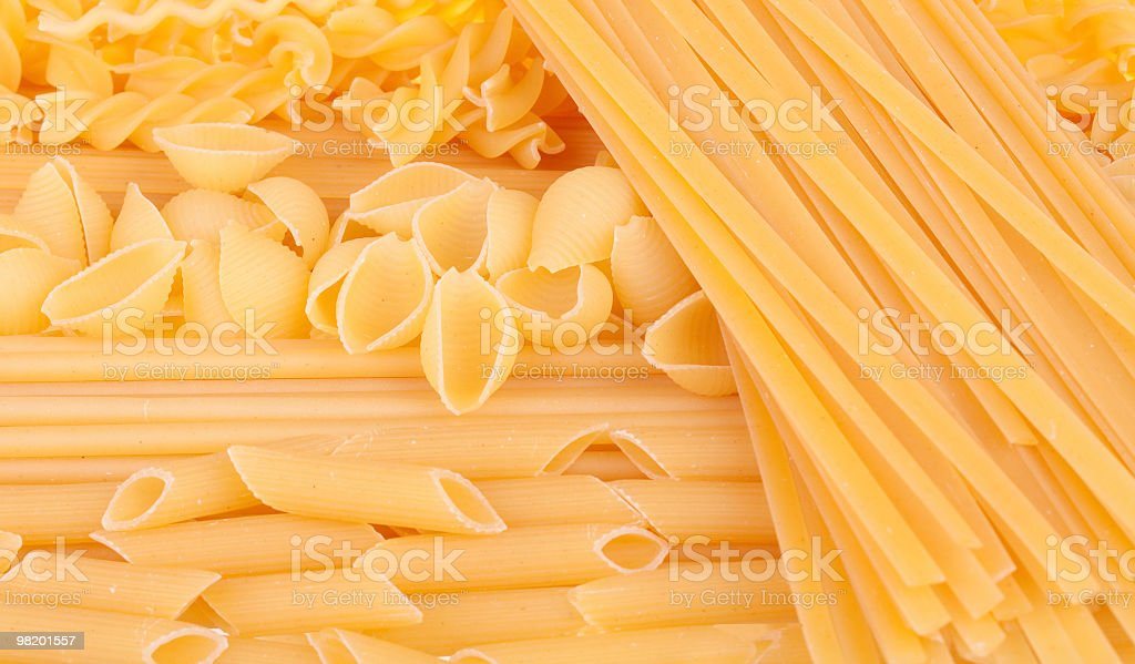 Many types of pasta. Background royalty-free stock photo