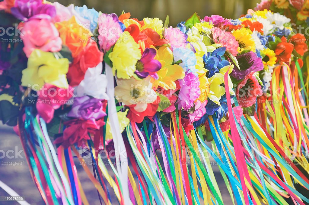 many Ukrainian national women's headdresses wreaths hang in a ro stock photo