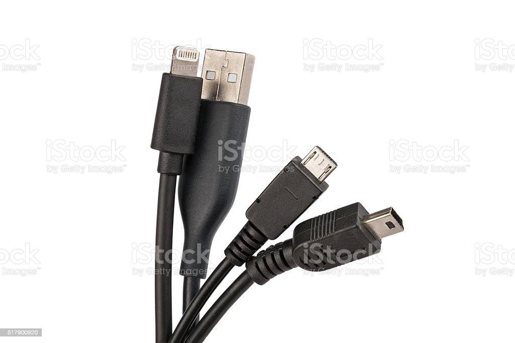 Many usb cables stock photo