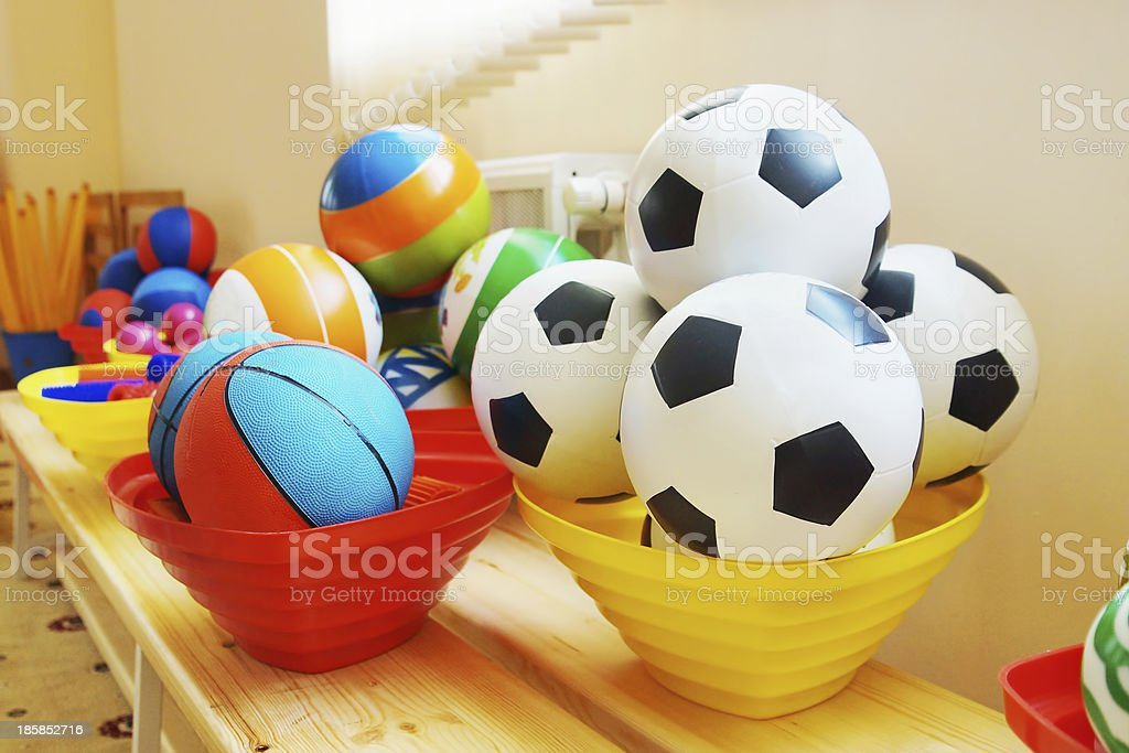 Many various balls in a kindergarten royalty-free stock photo