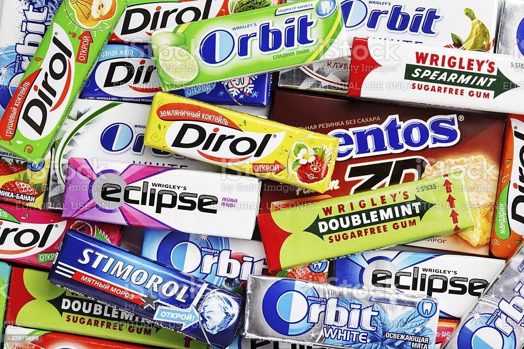 Many various colorful chewing or bubble gums