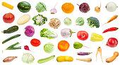 many various fresh ripe vegetables isolated on white background