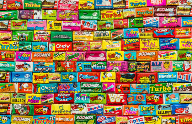 Ashdod, Israel - September 27, 2015: Many various of colorful chewing or bubble gum from seventies, eighties and nineties stock photo