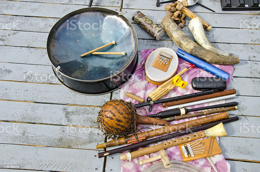 many various original musical instruments royalty-free stock photo