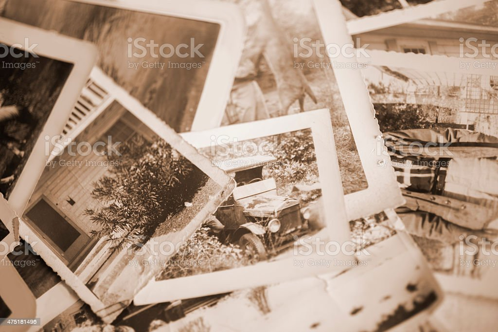 Many vintage, sepia-toned photographs. Old-fashioned images from 1940s. stock photo