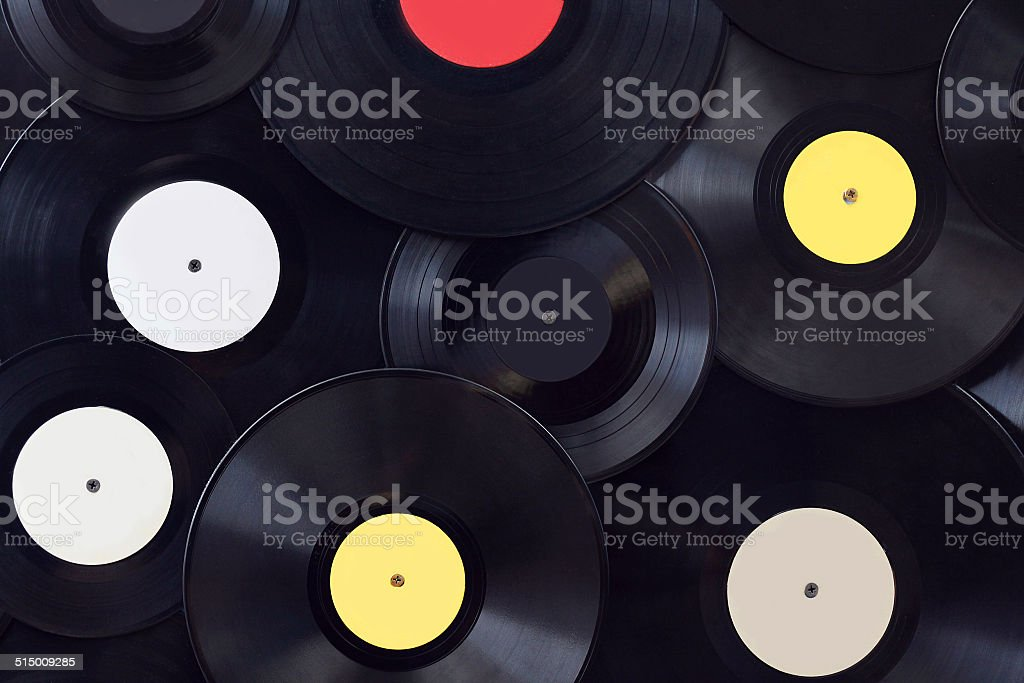 Many vinyl disks, musical abstract background stock photo