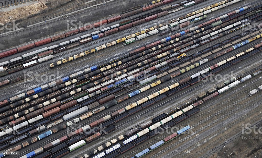 Many wagons and trains. Aerial view. royalty-free stock photo
