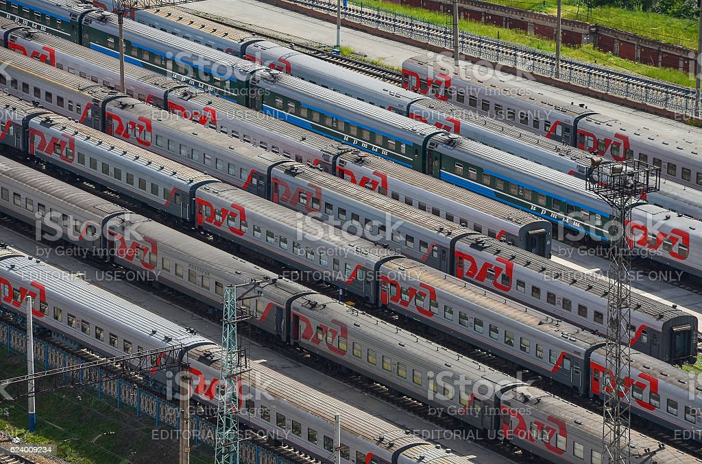 Many wagons and trains. Aerial view. Railway transport in Russia. stock photo