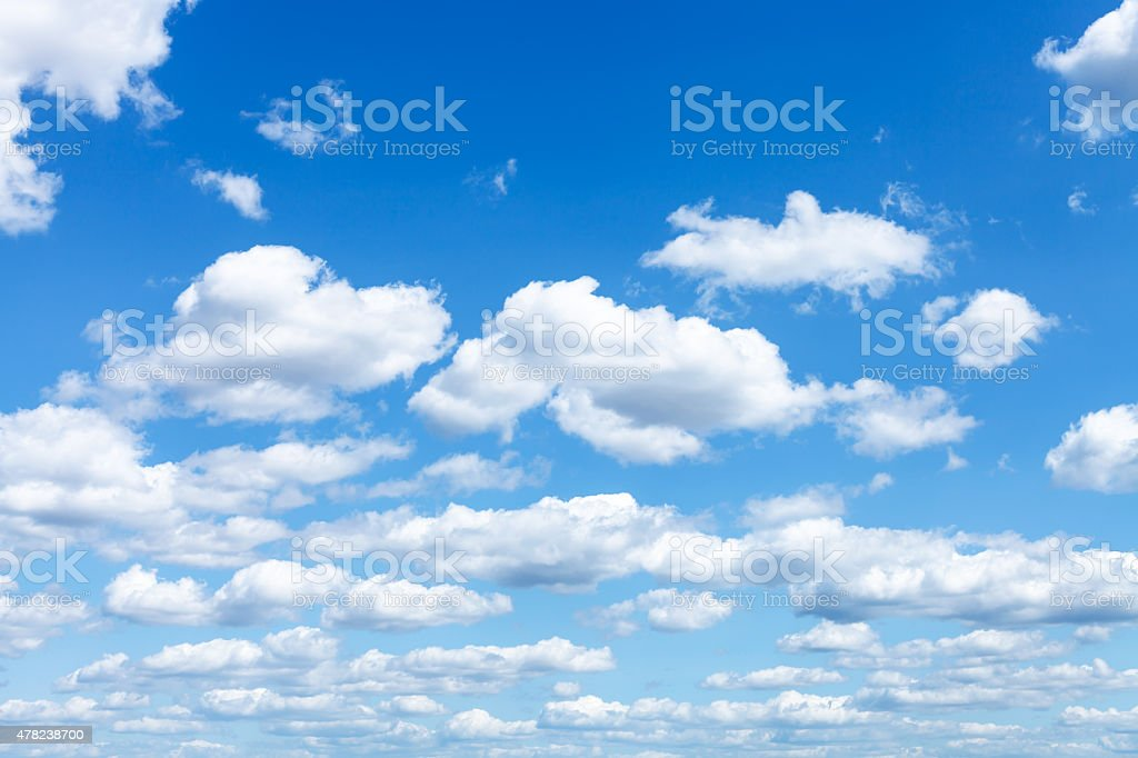 many white clouds in summer blue sky stock photo