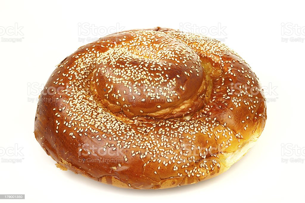 Many white seeds on a round sabbath challah royalty-free stock photo