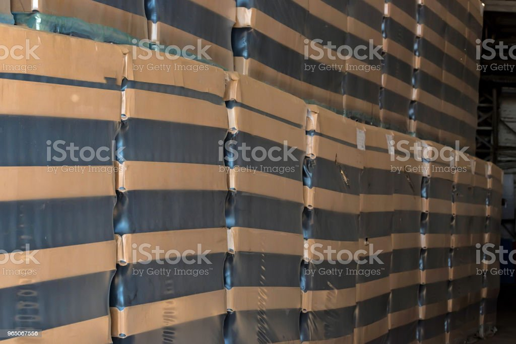 Many wine bottles packed for wholesale at winery royalty-free stock photo