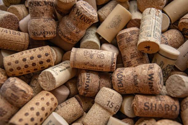Many wine corks texture closeup. Wine bar backdrop stock photo