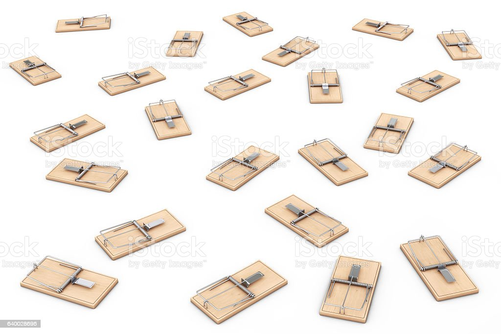 Many Wooden Mousetraps. 3d Rendering stock photo