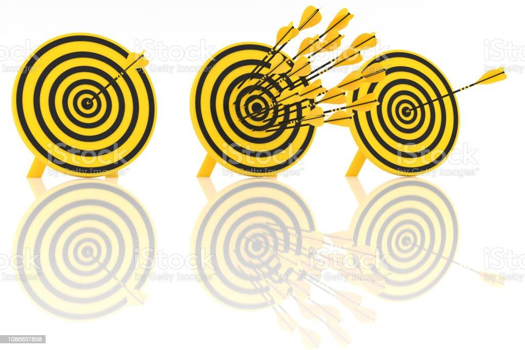 Many yellow arrows stock photo