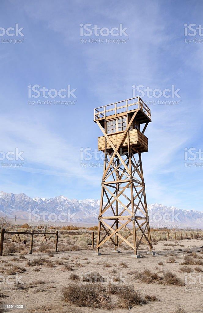 Manzanar Gaurd Tower stock photo