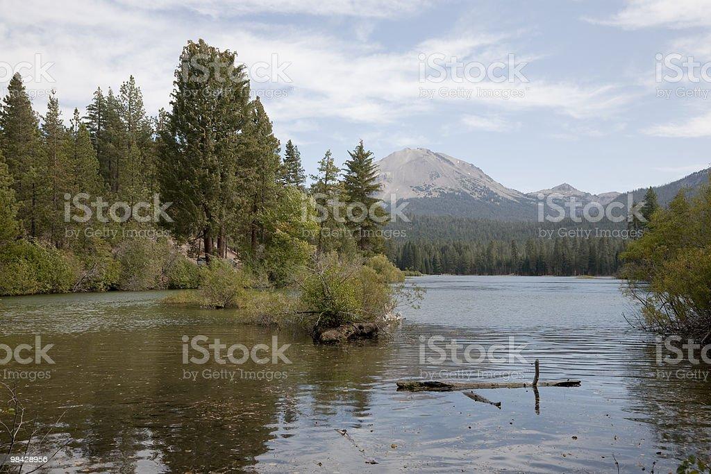 Manzanita Lake and Lassen Peak royalty-free stock photo