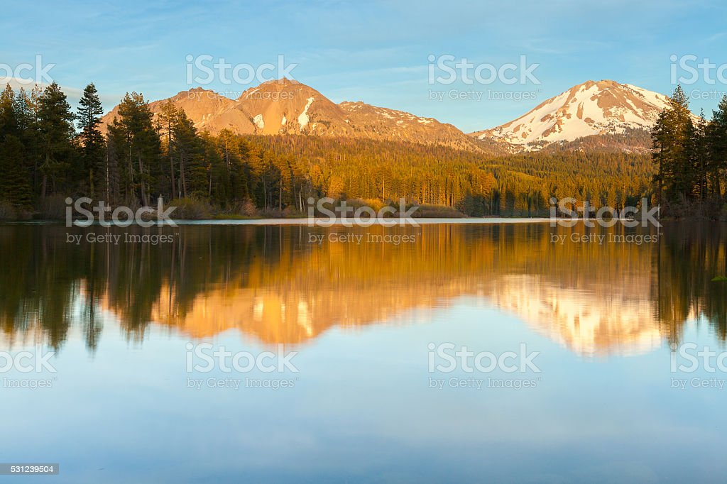 Manzanita Lake at Sunset (Lassen Volcanic National Park) stock photo
