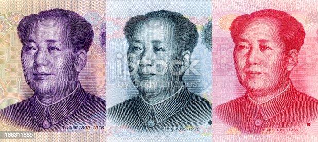 Close-up of Mao Zedong's portrait on 5 Yuan RMB,10 Yuan RMB,100 Yuan RMB (China Currency).