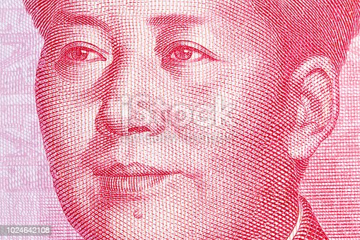 Mao Zedong on chinese hundred yuan banknote.