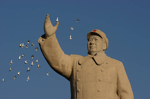 Mao Zedong Statue pigeons flying closeby Mao Zedong statue in Renmin Square. Kashgar (Kashi). Xinjiang Uyghur Autonomous Region. China. mao tse tung stock pictures, royalty-free photos & images