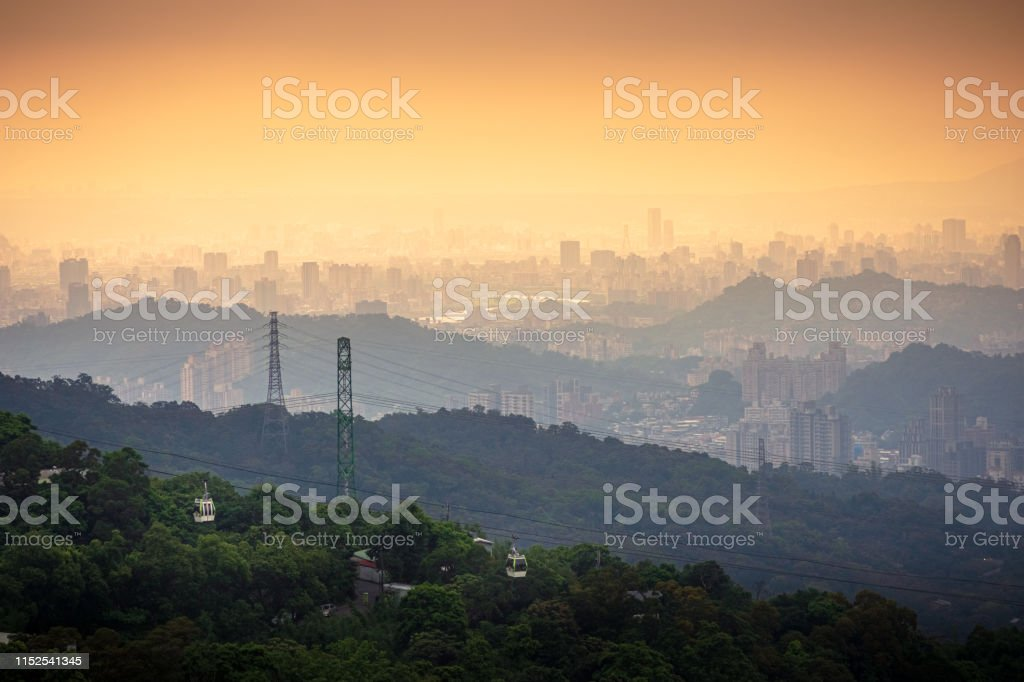 Maokong gondola cableway transports tourists in Taipei, Taiwan - Royalty-free Aerial View Stock Photo