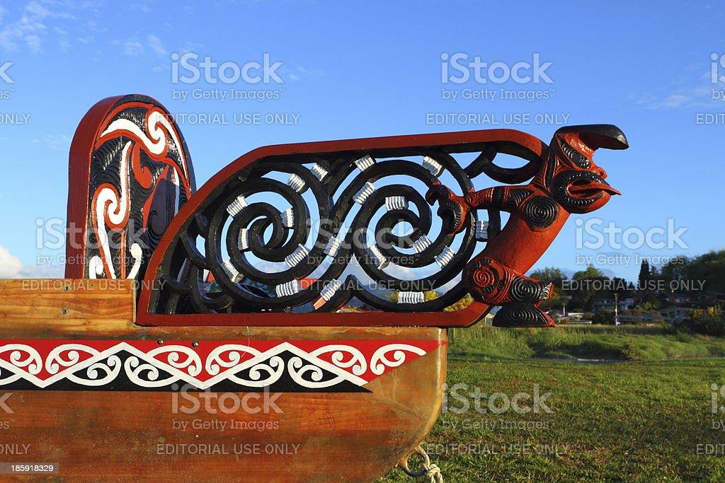 Maori boat fragment royalty-free stock photo