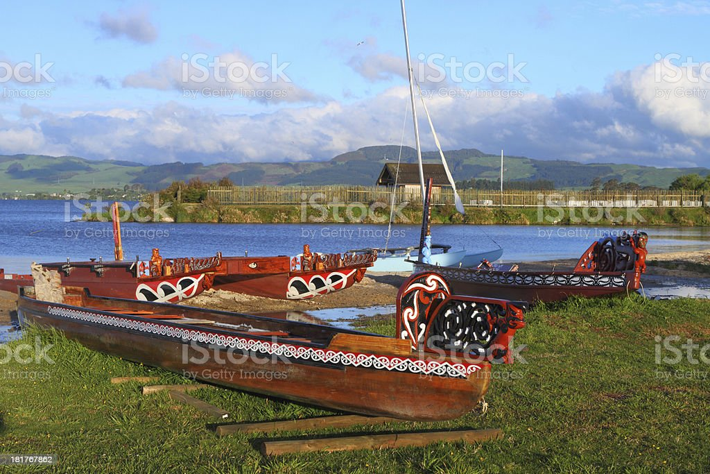 Maori boats royalty-free stock photo