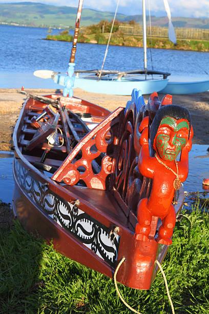 Maori boats stock photo