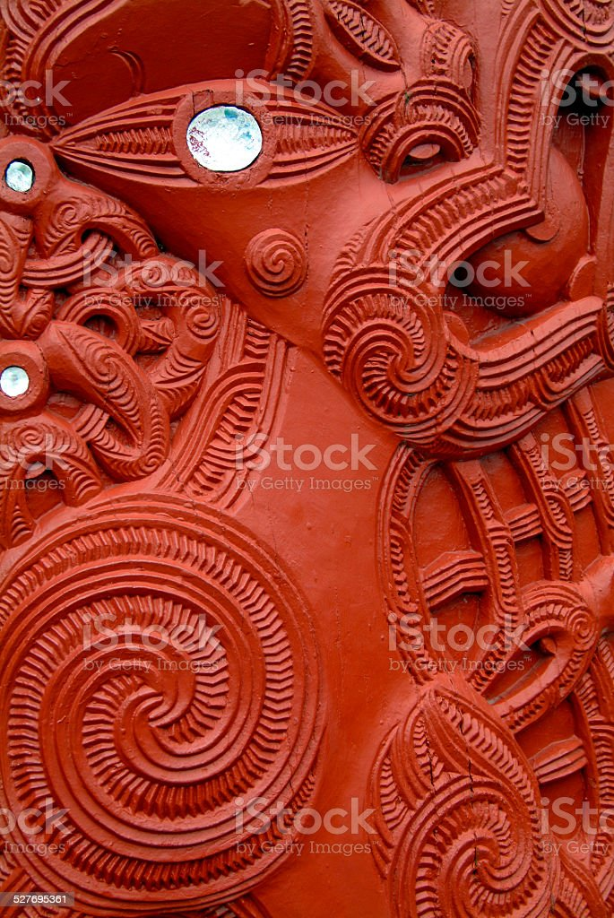 Maori carving detail,  New Zealand stock photo