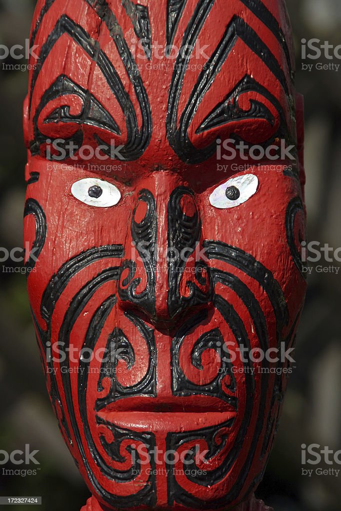 Maori Carving, New Zealand royalty-free stock photo