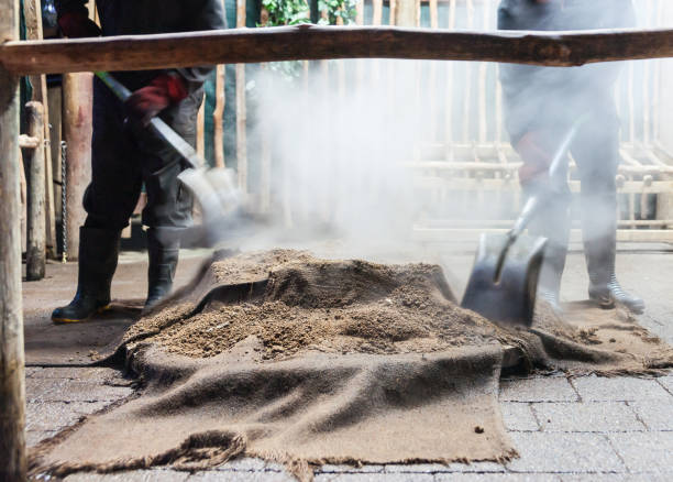 Maori Culture which cooking Smoke and dust fly as food is being prepared for a traditional Maori feast or Hangi, by steaming through heat from underground thermal activity or heated stones in base of pit. rotorua stock pictures, royalty-free photos & images