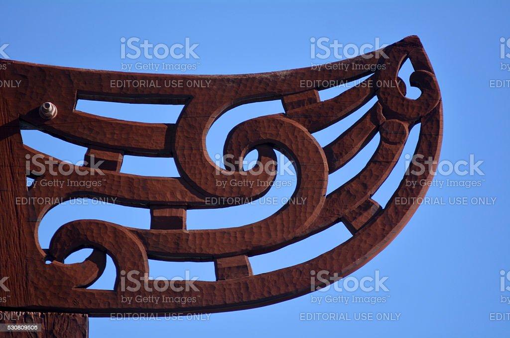 Maori  culture - wood carving stock photo